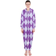 Diamond1 White Marble & Purple Denim Hooded Jumpsuit (ladies)