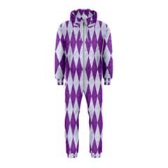 Diamond1 White Marble & Purple Denim Hooded Jumpsuit (kids)