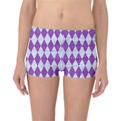 Diamond1 White Marble & Purple Denim Boyleg Bikini Bottoms