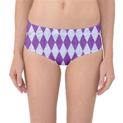 Diamond1 White Marble & Purple Denim Mid Waist Bikini Bottoms