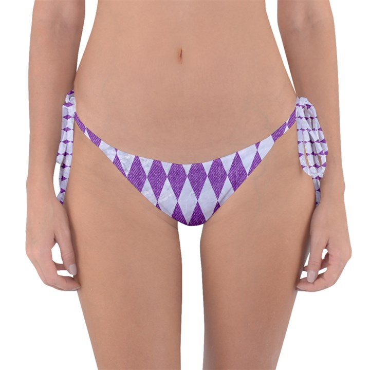 DIAMOND1 WHITE MARBLE & PURPLE DENIM Reversible Bikini Bottom
