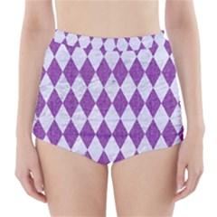 Diamond1 White Marble & Purple Denim High Waisted Bikini Bottoms