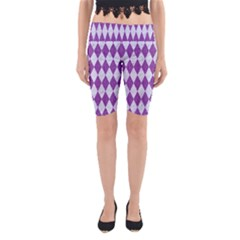 Diamond1 White Marble & Purple Denim Yoga Cropped Leggings