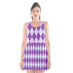 Diamond1 White Marble & Purple Denim Scoop Neck Skater Dress