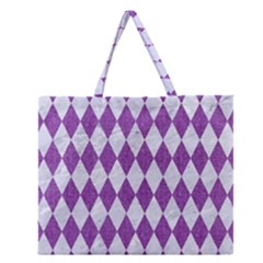 Diamond1 White Marble & Purple Denim Zipper Large Tote Bag