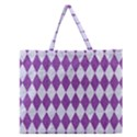 DIAMOND1 WHITE MARBLE & PURPLE DENIM Zipper Large Tote Bag View1