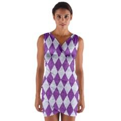 Diamond1 White Marble & Purple Denim Wrap Front Bodycon Dress