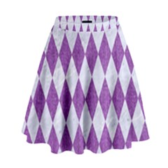 Diamond1 White Marble & Purple Denim High Waist Skirt