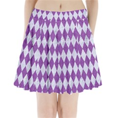 Diamond1 White Marble & Purple Denim Pleated Mini Skirt