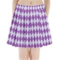 DIAMOND1 WHITE MARBLE & PURPLE DENIM Pleated Mini Skirt View1
