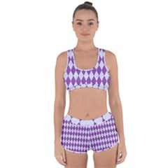 Diamond1 White Marble & Purple Denim Racerback Boyleg Bikini Set