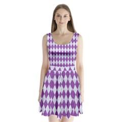 Diamond1 White Marble & Purple Denim Split Back Mini Dress