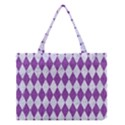 DIAMOND1 WHITE MARBLE & PURPLE DENIM Medium Tote Bag View1