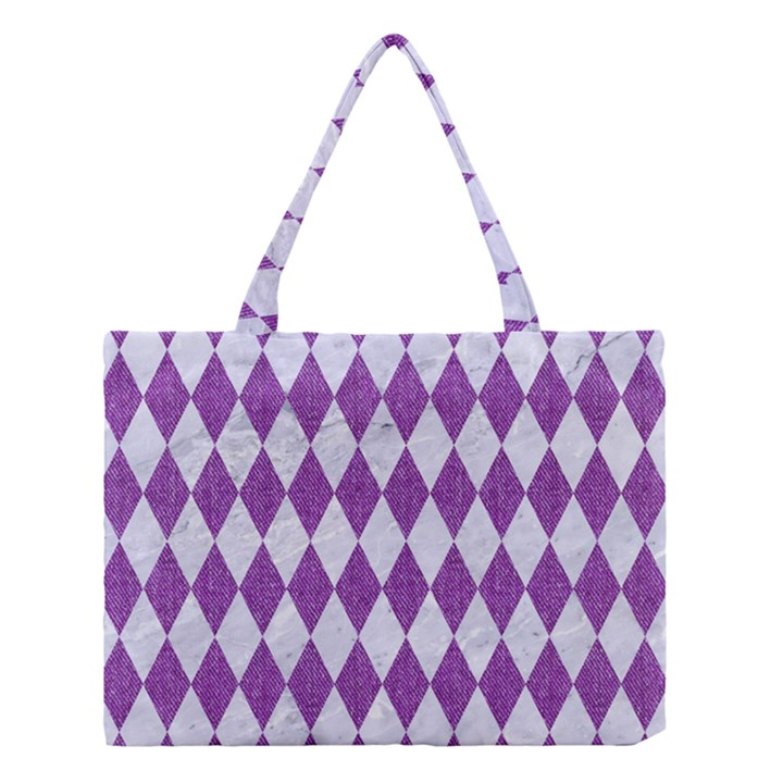 DIAMOND1 WHITE MARBLE & PURPLE DENIM Medium Tote Bag