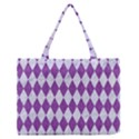 DIAMOND1 WHITE MARBLE & PURPLE DENIM Zipper Medium Tote Bag View1