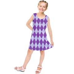 Diamond1 White Marble & Purple Denim Kids  Tunic Dress