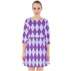 Diamond1 White Marble & Purple Denim Smock Dress