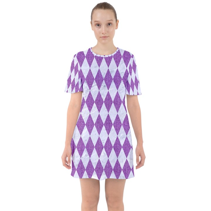 DIAMOND1 WHITE MARBLE & PURPLE DENIM Sixties Short Sleeve Mini Dress