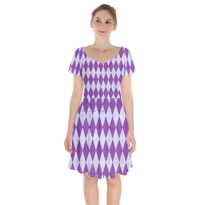DIAMOND1 WHITE MARBLE & PURPLE DENIM Short Sleeve Bardot Dress