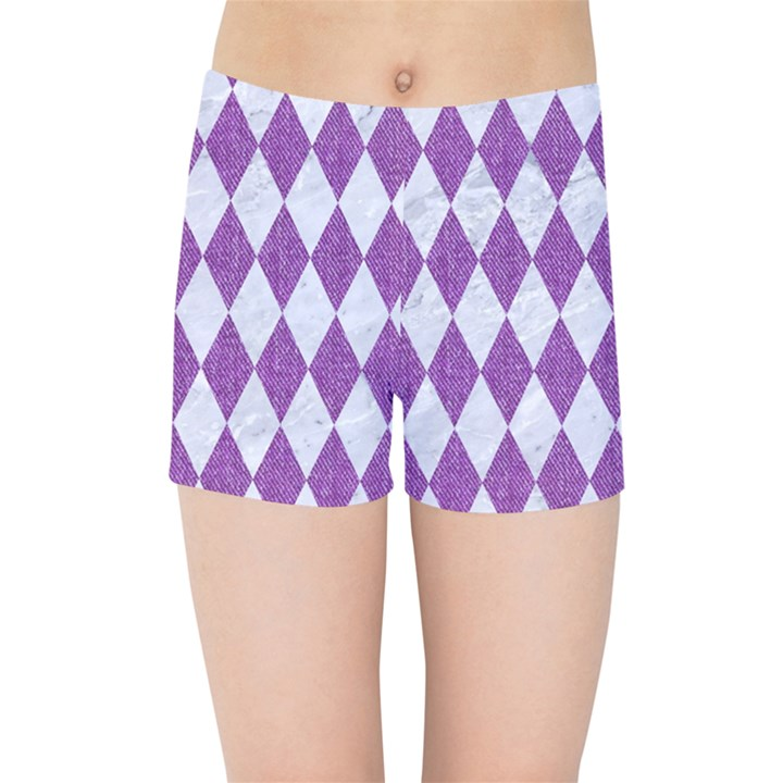 DIAMOND1 WHITE MARBLE & PURPLE DENIM Kids Sports Shorts
