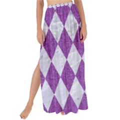 Diamond1 White Marble & Purple Denim Maxi Chiffon Tie Up Sarong