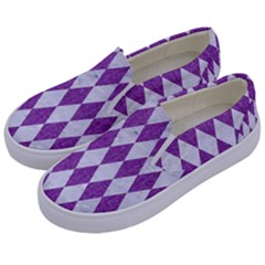 Diamond1 White Marble & Purple Denim Kids  Canvas Slip Ons by trendistuff