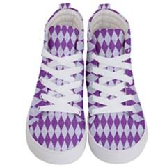 Diamond1 White Marble & Purple Denim Kid s Hi Top Skate Sneakers
