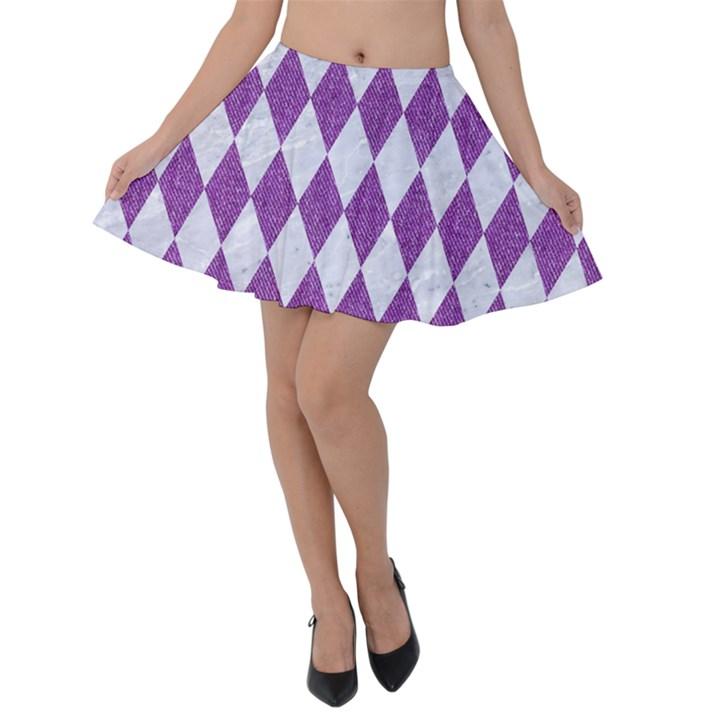 DIAMOND1 WHITE MARBLE & PURPLE DENIM Velvet Skater Skirt