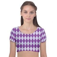 Diamond1 White Marble & Purple Denim Velvet Short Sleeve Crop Top