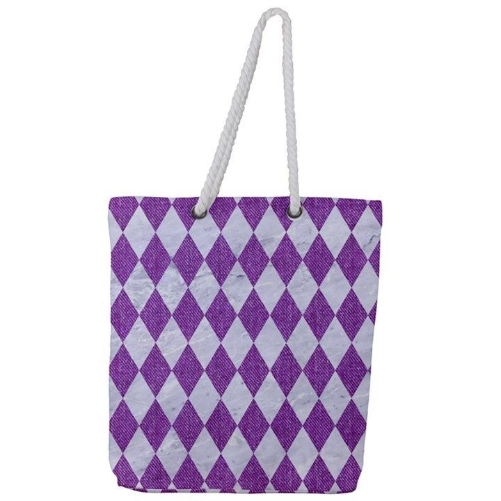 DIAMOND1 WHITE MARBLE & PURPLE DENIM Full Print Rope Handle Tote (Large)
