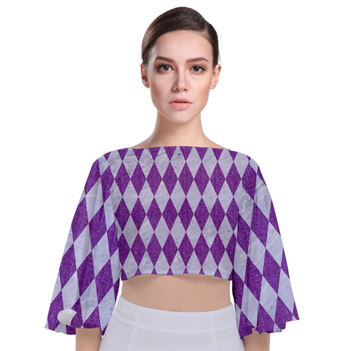 DIAMOND1 WHITE MARBLE & PURPLE DENIM Tie Back Butterfly Sleeve Chiffon Top