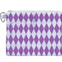 DIAMOND1 WHITE MARBLE & PURPLE DENIM Canvas Cosmetic Bag (XXXL) View1