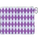 DIAMOND1 WHITE MARBLE & PURPLE DENIM Canvas Cosmetic Bag (XXXL) View2