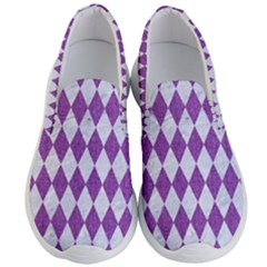 Diamond1 White Marble & Purple Denim Men s Lightweight Slip Ons