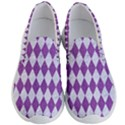 DIAMOND1 WHITE MARBLE & PURPLE DENIM Men s Lightweight Slip Ons View1