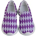 DIAMOND1 WHITE MARBLE & PURPLE DENIM Kid s Lightweight Slip Ons View1