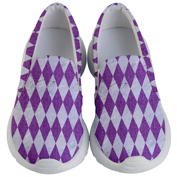 DIAMOND1 WHITE MARBLE & PURPLE DENIM Kid s Lightweight Slip Ons