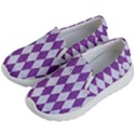 DIAMOND1 WHITE MARBLE & PURPLE DENIM Kid s Lightweight Slip Ons View2