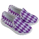 DIAMOND1 WHITE MARBLE & PURPLE DENIM Kid s Lightweight Slip Ons View3