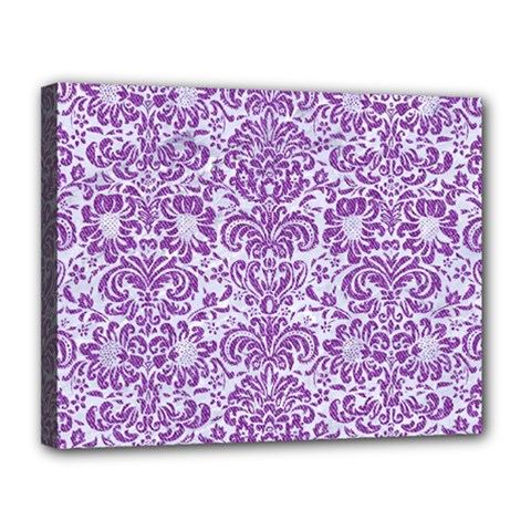Damask2 White Marble & Purple Denim (r) Canvas 14  X 11  by trendistuff