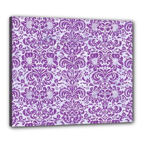 Damask2 White Marble & Purple Denim (r) Canvas 24  X 20