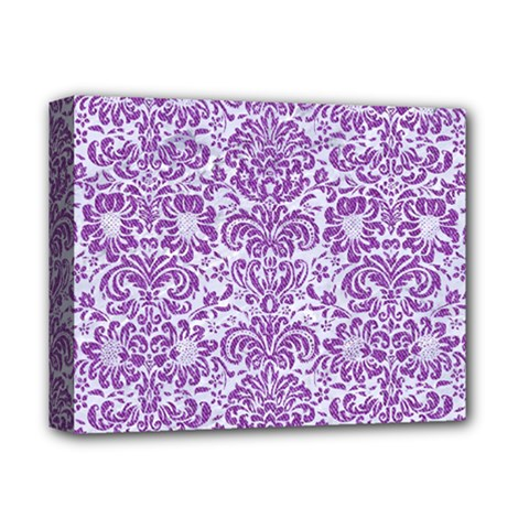 Damask2 White Marble & Purple Denim (r) Deluxe Canvas 14  X 11