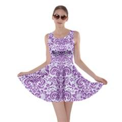 DAMASK2 WHITE MARBLE & PURPLE DENIM (R) Skater Dress