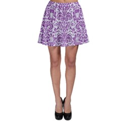 Damask2 White Marble & Purple Denim (r) Skater Skirt
