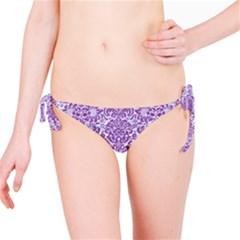 Damask2 White Marble & Purple Denim (r) Bikini Bottom