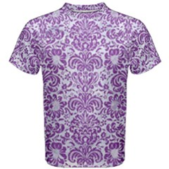 Damask2 White Marble & Purple Denim (r) Men s Cotton Tee