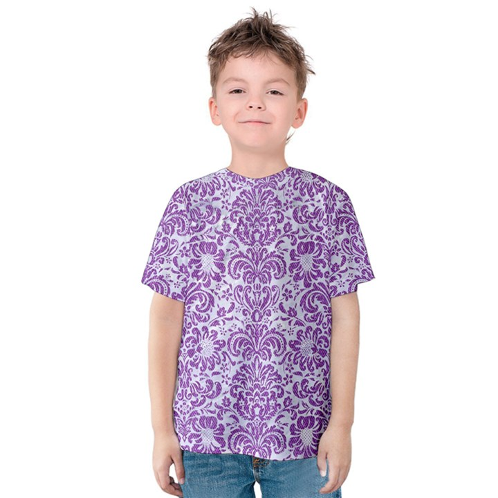 DAMASK2 WHITE MARBLE & PURPLE DENIM (R) Kids  Cotton Tee