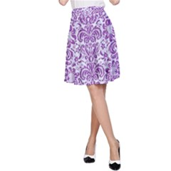 Damask2 White Marble & Purple Denim (r) A Line Skirt