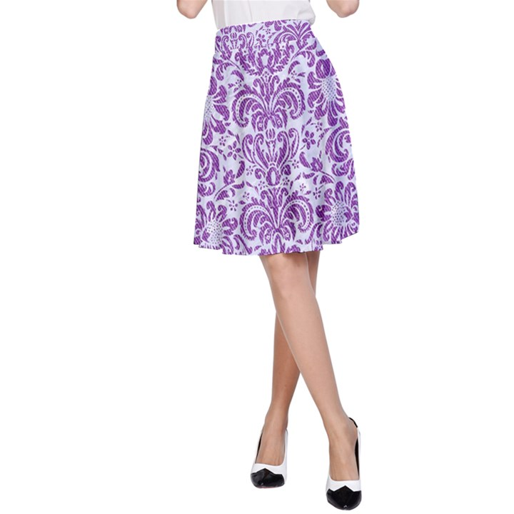 DAMASK2 WHITE MARBLE & PURPLE DENIM (R) A-Line Skirt