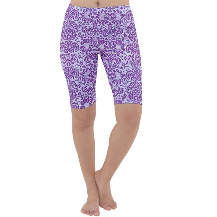DAMASK2 WHITE MARBLE & PURPLE DENIM (R) Cropped Leggings